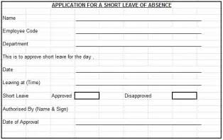 Short Leave Application For Office