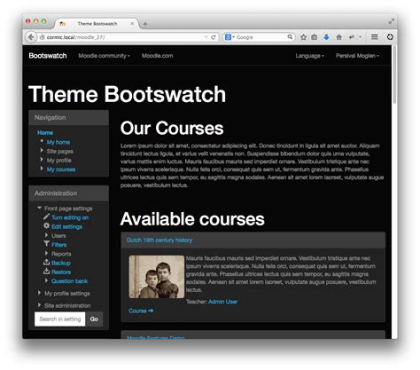 Theme Bootswatch Moodle | moodle plugins directory bootswatch