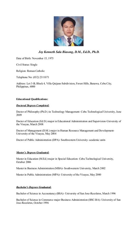 curriculum vitae of dr joy kenneth sala biasong