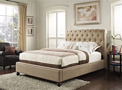 tan n bed stanton bed n box tan queen upholstered bed 88202