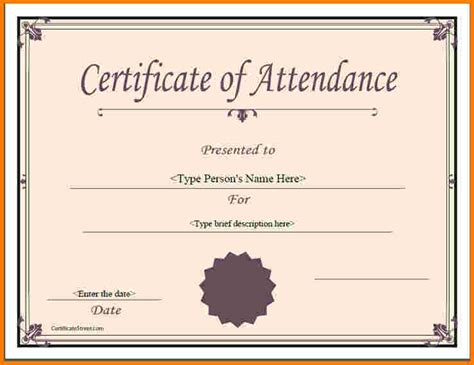 Certificate Of Attendance Template Word attendance certificate template 7 birth certificate word