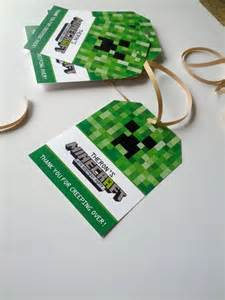 Minecraft Favor by Customized Birthday Favor Tags 8 Minecraft Themed