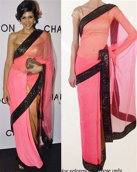 Other Designers Carey Is New Of Pinko by Buy Pink Plain Chiffon Saree With Blouse