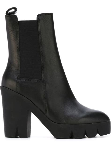 ash ridged sole block heel boots in black lyst