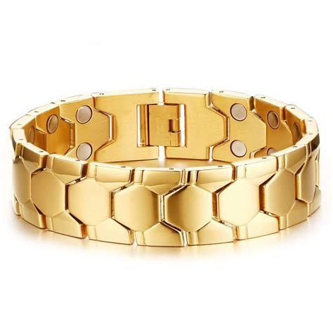 Bracelet homme acier plaque or magnetique aimante   BijouxStore   webid:1426