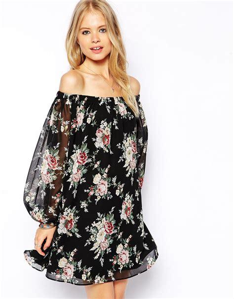 off the shoulder swing dress asos gypsy off shoulder swing dress in vintage rose print