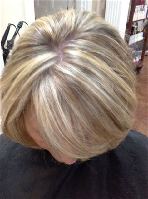 white highlights to blend in gray hair auburn base color with golden copper highlights service