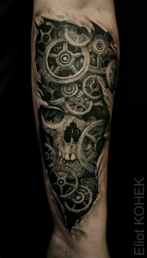 clock gears tattoo skull gears tattoos skulls gear