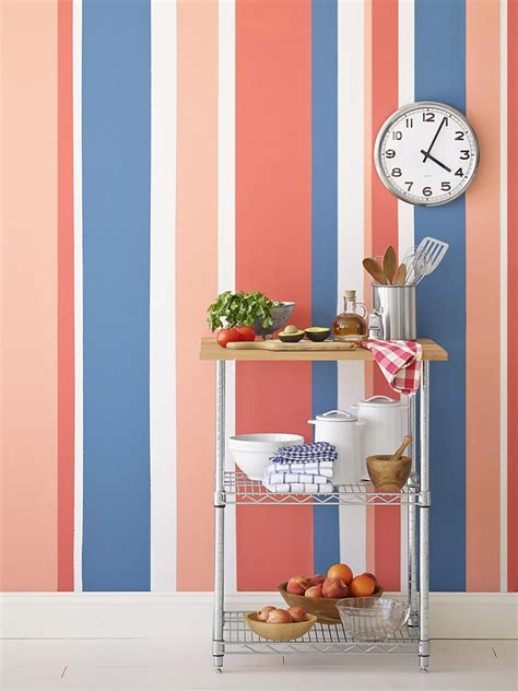 How To Make Your Own Kitchen Cabinets painting multicolored stripes on a wall hgtv