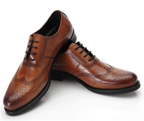 mens brown classic wingtip oxford genuine leather formal