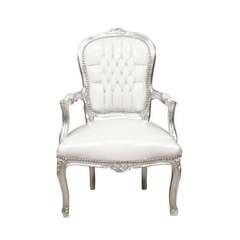 Luxury Armchairs Baroque Armchair Louis Xv White And Silver Chair