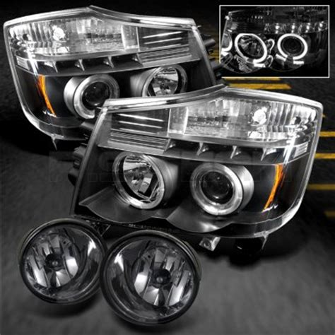 Nissan Titan 2004 2012 Black Projector Headlights and