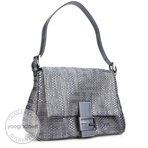 Fendi Forever Mirror Leather Purse by Fendi Forever Silver Woven Leather Forever Bag