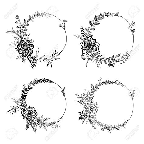 circle flower tattoo designs wreath majhare rakhbo 01 practise these will go well
