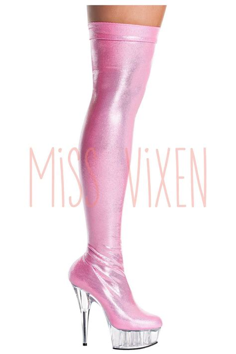 pink thigh high stretch boots shoes