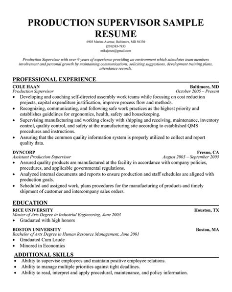 resume templates for a supervisor exle resume sle resume production supervisor