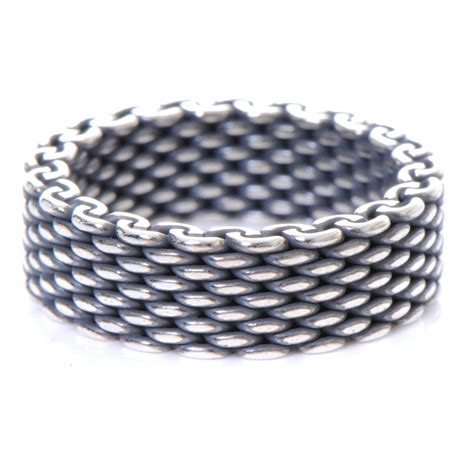 co oxidized sterling silver mesh somerset ring 8