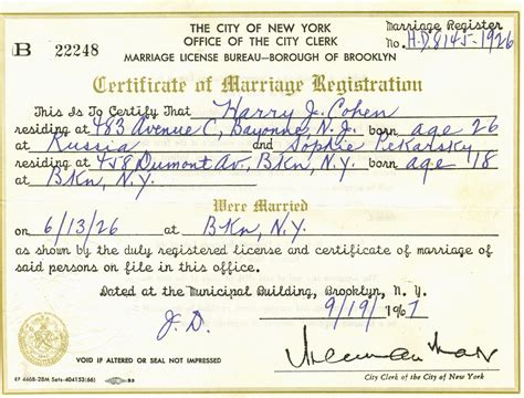 Ny Marriage License Records Bmd Records