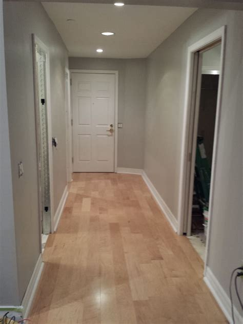 engineered maple flooring with quot dolphin fin quot gray behr satin finish paint connell condo design
