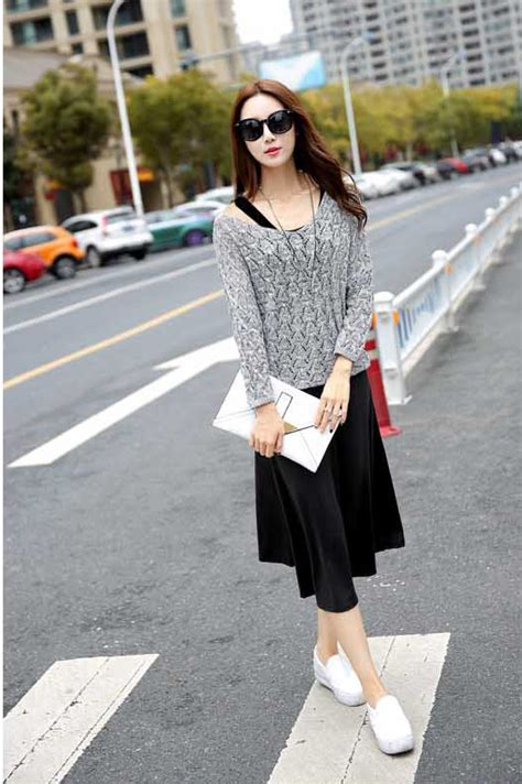 Baju Dress Korea Casual Import dress casual import kombinasi dress dengan baju outer lengan panjang a3150