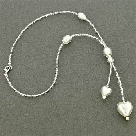 Glass Tie Necklace murano necklaces murano tie necklace silver white