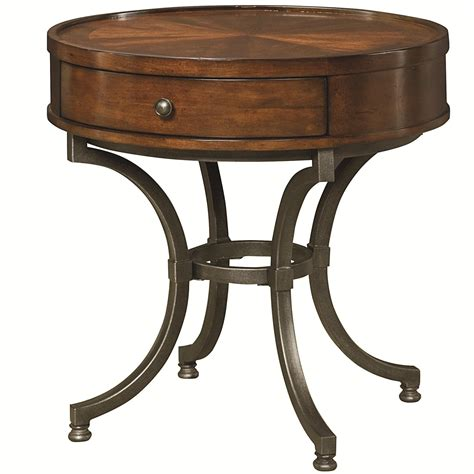 round accent table with drawer round end table with 1 drawer by hammary wolf and