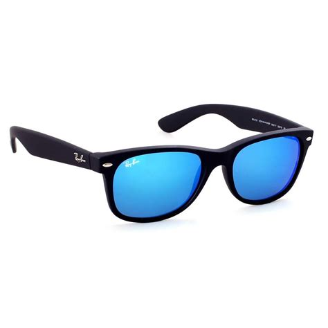 New Sungglases sunglasses ban new wayfarer rb 2132 622 17 matt black blue mirror optofashion fashion