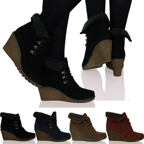 new womens wedge lace up fur lined ankle boots