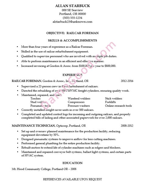 Railcar Repair Sle Resume by No College Degree Resume Sles Archives Damn Resume Guide