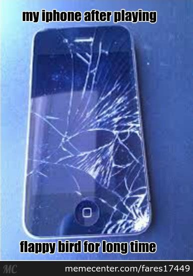 broken iphone thanks to flappy bird by fares17449 meme