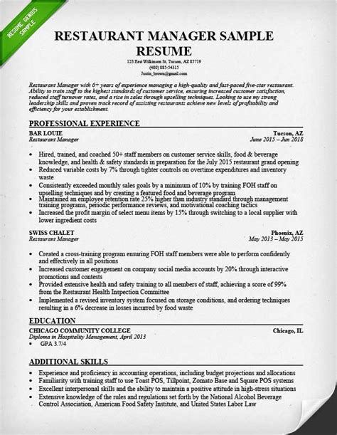 Resume For Restaurant Manager by Restaurant Manager Resume Sle Tips Resume Genius