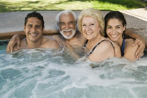 Family In Hot Tub Portrait Stock Photo Image Of