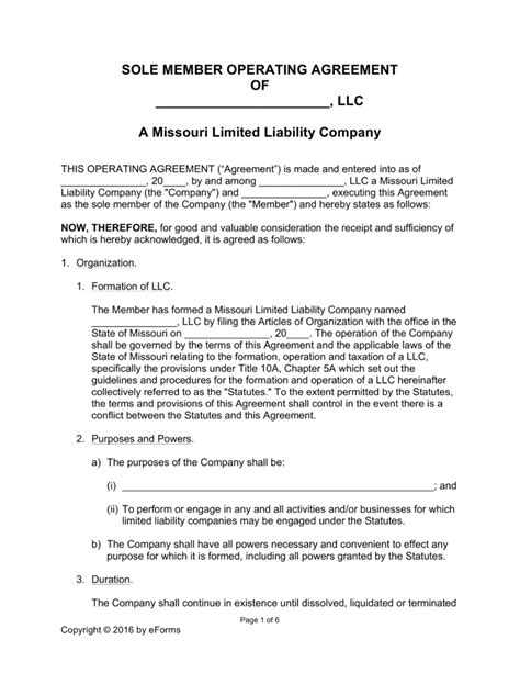 operating agreement template llc free missouri single member llc operating agreement form