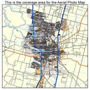 aerial photography map of stockton ca california