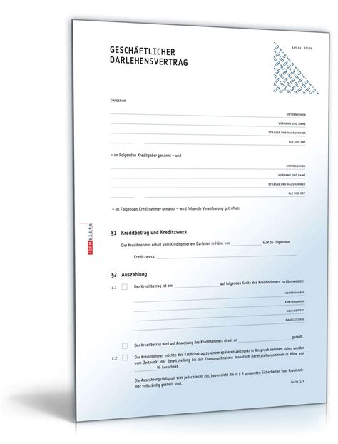 Muster Darlehensvertrag Gesch 228 Ftlicher Darlehensvertrag Muster Vorlage Zum