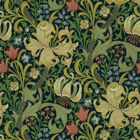 Wallpapers Designs For Home Interiors by Golden Lily Wallpaper Indigo 210429 William Morris