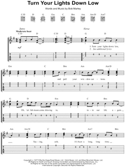 lights down low guitar chords bob marley quot turn your lights down low quot guitar tab