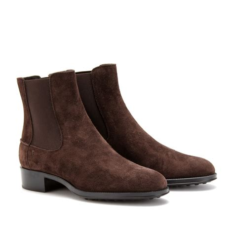 tods boots tod s suede chelsea boots in brown lyst