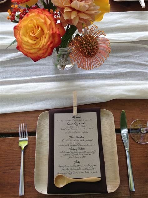An outdoor wedding place setting using our compostable