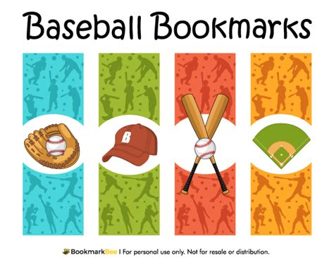 printable baseball bookmarks printable baseball bookmarks