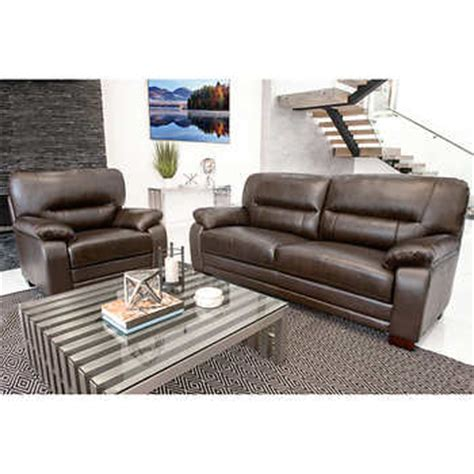 brentwood sofa costco brentwood 2 piece top grain leather sofa and chair living