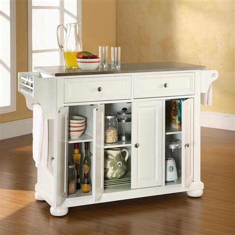 alexandria kitchen island alexandria stainless steel top kitchen island white dcg stores