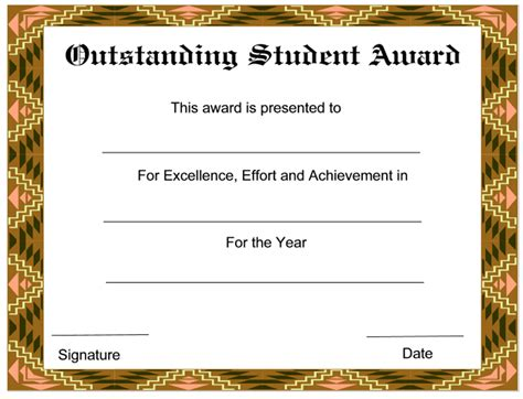 Outstanding Student New Award Certificates Template Free Certificate Templates For Students