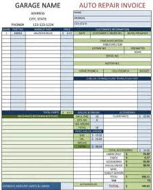 Auto Repair Invoice Template by Auto Repair Template Free Printable Documents