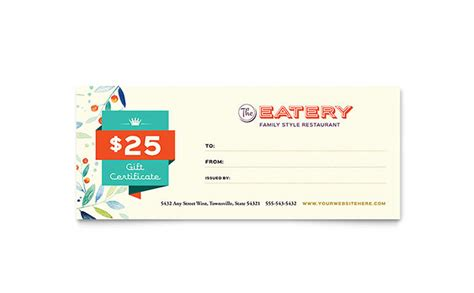 Restaurant Gift Cards Templates by Family Restaurant Gift Certificate Template Design