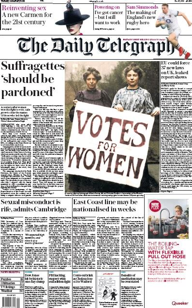 The Sunday Telegraph 2 by The Daily Telegraph Uk Front Page For 6 February 2018