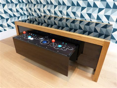 Coffee Table Arcade This Premium Wooden Coffee Table Is Also A Two Player Arcade Machine