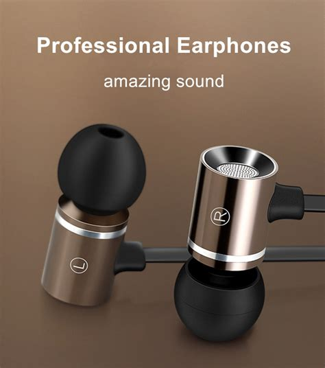 ptm m1 aluminum metal earphone heavy bass headset noise canceling earbuds for mobile phone