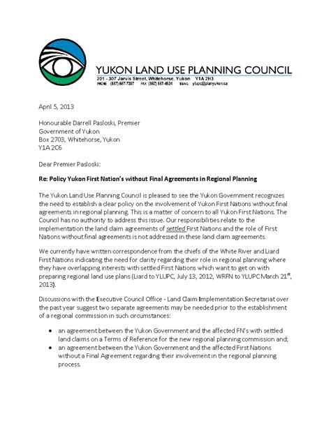 Letter For Land Use Home Yukon Land Use Planning Council