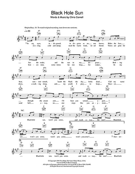 black hole sun chords black hole sun chords by soundgarden melody line lyrics